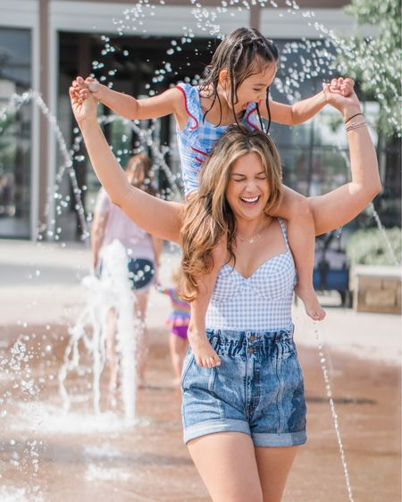 Gingham mommy and me. Blue plaid swim little girl. Fourth of July summer swimsuit. Belted one piece. Paper bag jean shorts. Moms 80s Jean shorts.    http://liketk.it/3ev90 #liketkit @liketoknow.it #LTKfamily #LTKunder50 @liketoknow.it.family