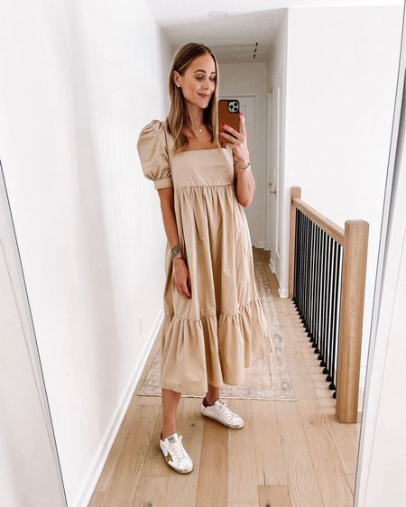 Love this summer dress with sneakers or sandals. Wearing a small (runs a little big) #sneakers #shopbop   #LTKstyletip #LTKunder100 #LTKshoecrush