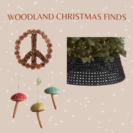 Christmas woodland decor and ornaments, mushroom ornaments, peach pinecones wreath, tree basket, boho Christmas, farmhouse Christmas   #LTKstyletip #LTKfamily #LTKhome