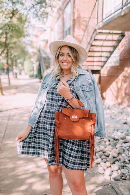 Plaid flannel dress, fringe bag  #LTKSeasonal #LTKunder100 #LTKunder50