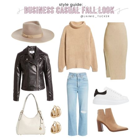 Check out this casual fall day look I created! Super cute for work or any upcoming brunch or dinner plans! | #falloutfit #workoutfit #brunchoutfit #dinnerdateoutfit #fallinspo #fallsweater #midiskirt #knittedskirt #businesscasual #businessoutfit  #knittedturtleneck #denimjeans #bestsellers #JaimieTucker  #LTKworkwear #LTKstyletip #LTKSeasonal