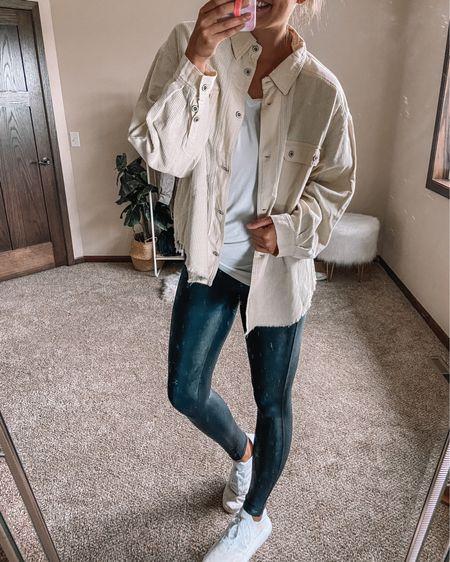 NSale plaid shacket for $35 / Spanx faux leather leggings / white tank / adidas gold and white swift run sneakers   #LTKshoecrush #LTKstyletip #LTKsalealert
