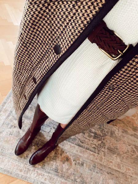 Sweater dress, braided belt, fall jacket, brown boots (fall maternity outfit)    #LTKbump #LTKstyletip #LTKSeasonal