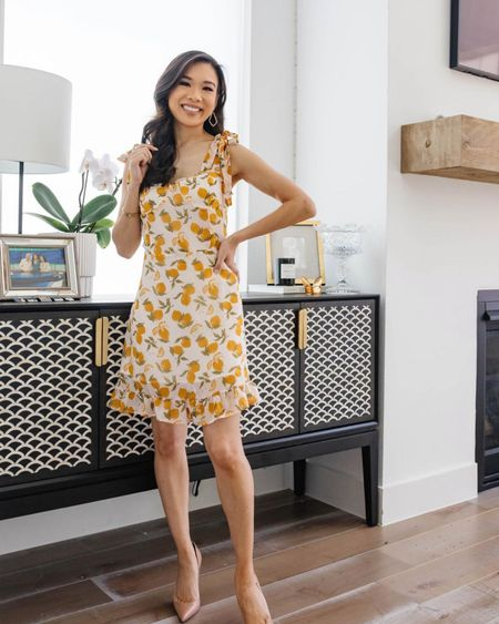 Lemon print dress for summer on sale for $62! Wearing size XS. Love this for weddings, vacation outfits, date night outfits, travel outfits, casual outfits.  #LTKunder100 #LTKstyletip #LTKsalealert