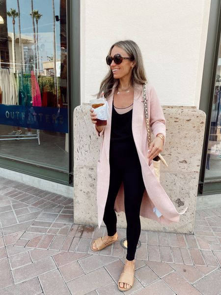 Blush coatigan (30-40% off with code MOREFALL) I recommend sizing down  Slides are 15% off with code SHANNON15 (I'm a 6.5 and got a 7)   #LTKsalealert #LTKstyletip