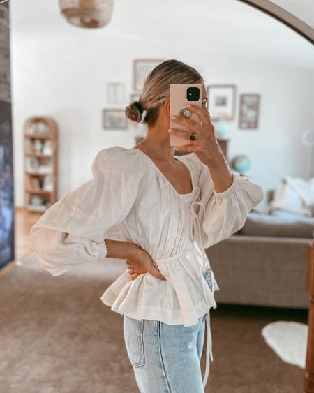 Puff sleeve top from Revolve. Runs small so go with your larger size.