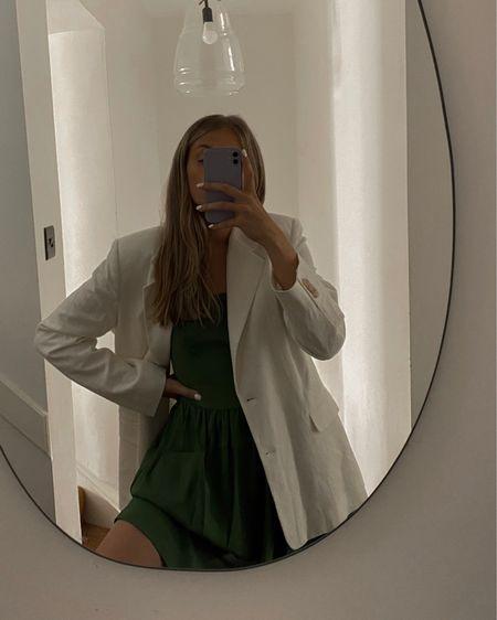 White blazer, linen blazer, green dress, amazon dress , amazon fashion , summer dress @liketoknow.it #liketkit http://liketk.it/3lIT7 #LTKunder50 #LTKeurope #LTKstyletip