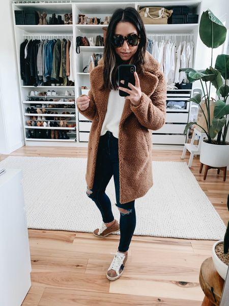 My Abercrombie & Fitch Sherpa coat is back in-stock. Brown Sherpa coat. Teddy coat  Coat - A&F xs Sweater - Madewell xxs (old) Jeans - Madewell 23 (size down) Sneakers - Veja 35    #LTKSeasonal #LTKSale #LTKsalealert