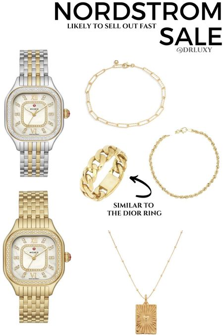 Nordstrom Anniversary sale #nsale  Jewelry that won't tarnish  Gold watch  Dior ring dupe  Chain link bracelet  Gold necklace   Follow me on my IG @drluxy to see more of my style     #LTKwedding #LTKsalealert #LTKstyletip