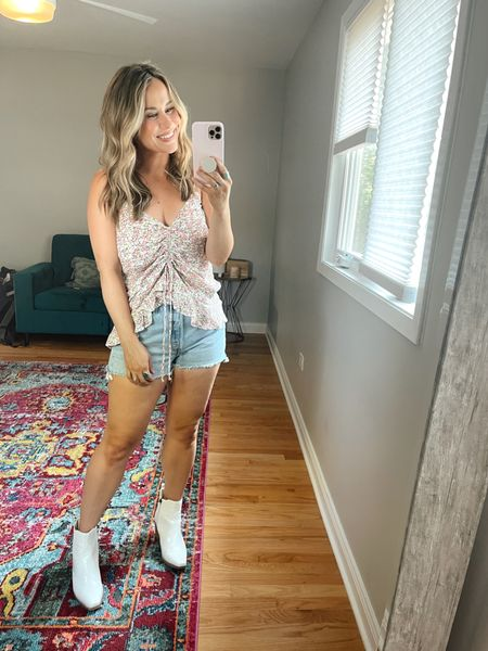 Wal mart finds! This tank top is the perfect summer top! Also linked my jean shorts and white booties!  #LTKunder50 #LTKstyletip #LTKshoecrush