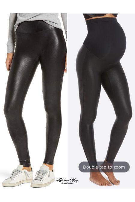 Spanx faux leather leggings on sale! Nordstrom anniversary sale. Nordstrom sale. Spanx leggings. Spanx mama leggings. Maternity leggings. Fall style.   #LTKunder100 #LTKbump #LTKsalealert