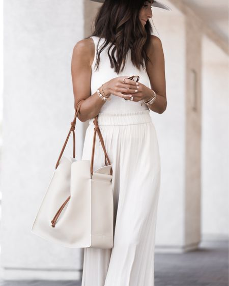 Summer tote bag,  Von Holtzhausen- use code Aylin10 for discount at checkout, summer outfit, white outfit, wide pants, body suit, sandals, StylinbyAylin @liketoknow.it #liketkit http://liketk.it/3hUxI       #LTKstyletip #LTKunder100 #LTKunder50