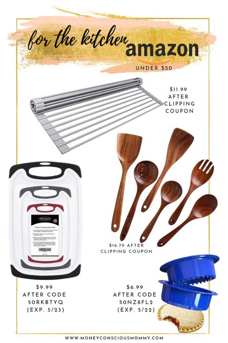 Amazon Kitchen Products Under $20!  Clip the coupon or enter code for discount!  | Wooden Spoons | Cutting Boards | | Uncrustables | Dish Draining Rack |