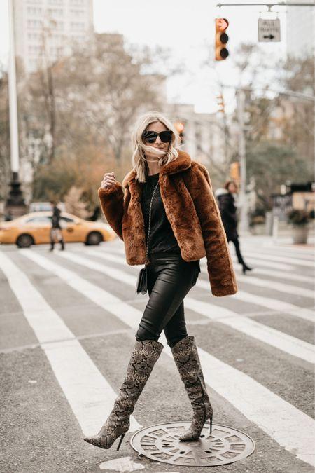 Faux fur jacket with leather pants and snakeskin boots 🖤✔️  #LTKstyletip #LTKunder100 #LTKSeasonal