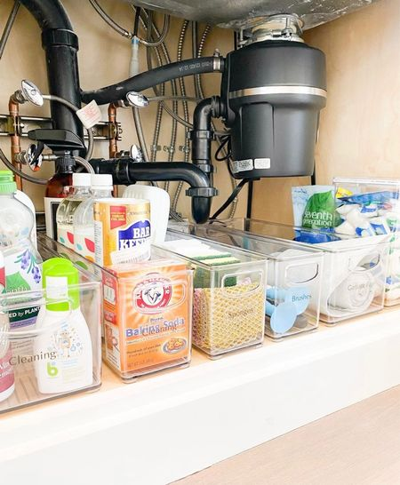 under the sink essentials!  Essential Storage   Organization Hacks   Satisfying   Container Store Must-Haves   Product Organization   Bathroom Tips   Hacks   Necessities   Bathroom Ideas   Organizing Ideas   Best Under-The-Sink   Simple   Easy  #LTKfamily #LTKbeauty #LTKhome