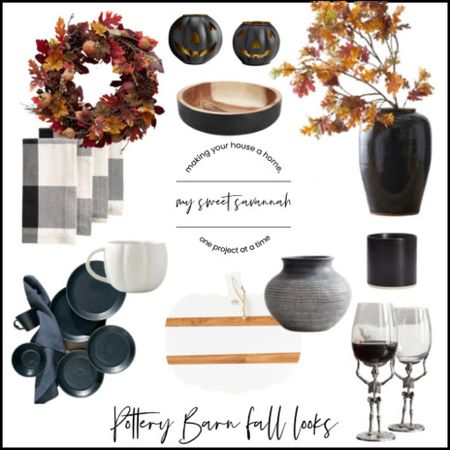 Fall at Pottery Barn, is there anything better?!  Galvanized pumpkins, ETU pumpkin charcuterie board, black stoneware dishes, wine goblets, fall wreath, faux stems, branches, Buffalo check plaid napkins.   #LTKSeasonal #LTKhome
