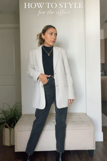 How To Style: For The Office Edition  - For this look I paired an oversized blazer with a mock neck top and black denim - will also link black straight leg trousers on case your office does not allow denim. 🖤 - All 3 items can be essential pieces in your wardrobe as you can mix and match to create different looks