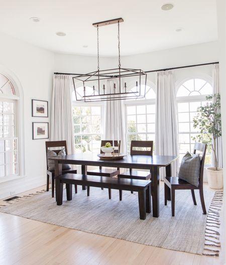 Kitchen, table, dining room, dining, chandelier, light, rug, curtains, Amazon   #LTKfamily #LTKSeasonal #LTKhome