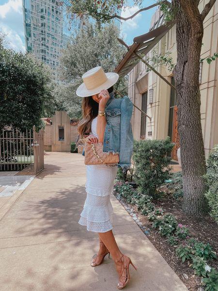 Express Outfit ideas, white eyelet dress, puff sleeve denim jacket, affordable sandals, designer dupe heels, nude sandals, Louis Vuitton coussin handbag, Emily Ann Gemma