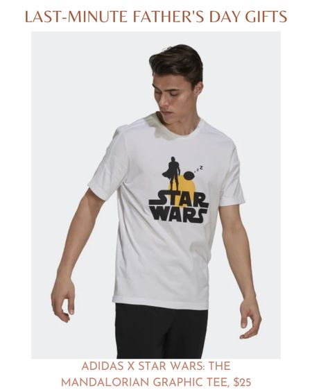 If your dad is a Star Wars fan, he'll love this Adidas and Star Wars collaborative graphic tee. The t-shirt features a silhouette of the Mandalorian and the Child, or better known as Baby Yoda. It's a cute and comfortable cotton t-shirt that can be worn every day.  The Mandalorian Graphic Tee is available in both black and white. You can find it in sizes small through 3XL and it costs $25.  #LTKmens #LTKunder50 #LTKfit