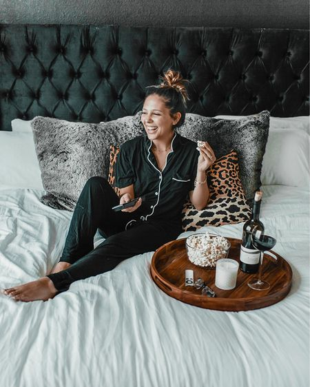 Sunday look ✨ soft pajamas, cozy white bed, my favorite wine glass, popcorn, and my tv! Happy weekend y'all! 💕 #liketkit @liketoknow.it http://liketk.it/2Wsst #StayHomeWithLTK #LTKhome #LTKsalealert @liketoknow.it.home