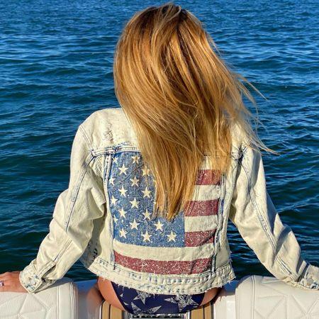 #july4th #4thofjuly #american #starsandstripes #starspangled #america #flag #denimjacket #flagapparel   #LTKunder100 #LTKswim #LTKSeasonal