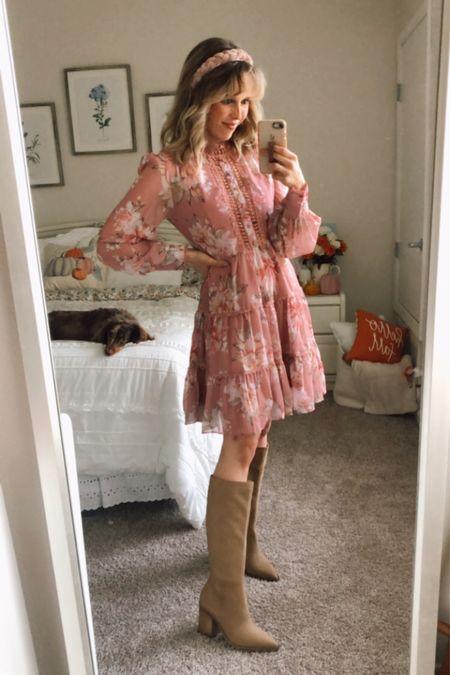 Fall outfit, fall dress, fall outfits, fall pots, knee high boots, fall boots  #LTKsalealert #LTKshoecrush #LTKSeasonal