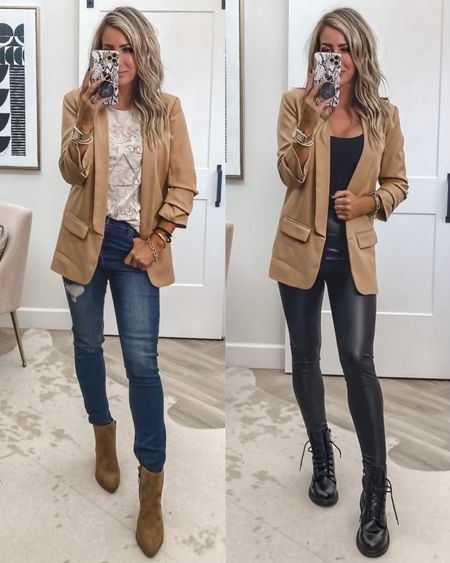 Walmart fashion try on fall outfit , casual tonight blazer Sz small (restocked!) one of my favs for years!  Band tee sz small Jeans sz 4 Faux leather leggings sz small Boots yay   #LTKworkwear #LTKstyletip #LTKunder50