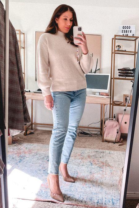 Gorgeous Amazon sweater.  Love the mock neck and slight balloon sleeve.  Wearing medium in the color oatmeal heather.   #LTKstyletip #LTKunder100 #LTKSeasonal