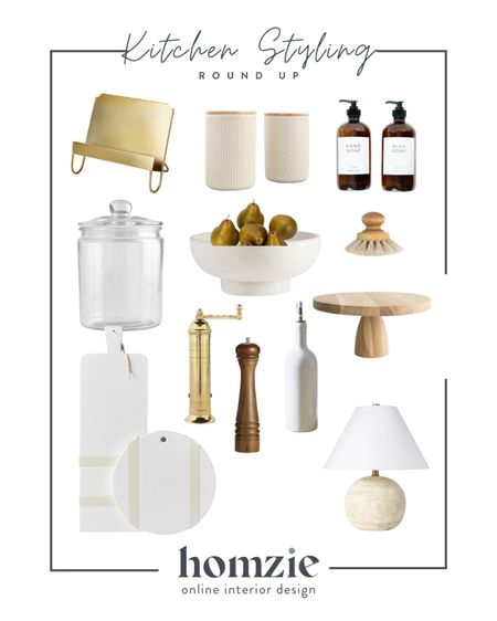 Kitchen styling decor - bottles, cutting boards, bowls, cake stands and more —- for tips on how to style your kitchen counters visit @homziedesigns on Instagram   #LTKhome