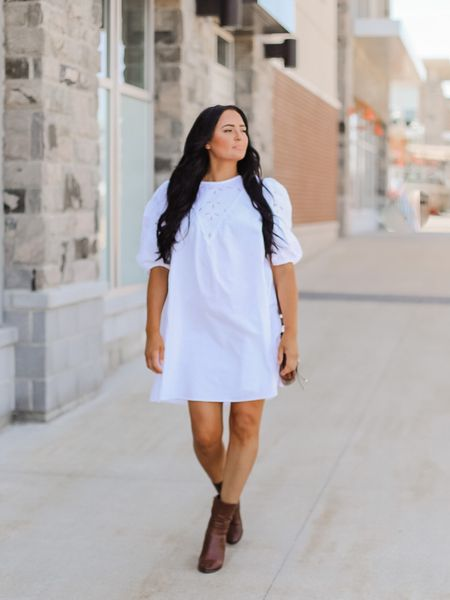 http://liketk.it/2UtQY #liketkit @liketoknow.it how to style a summer dress in the fall. #LTKstyletip #LTKunder50 #LTKcurves #fallfashion #fallstyletip #OTKboots #booties #whitedress @liketoknow.it.family Download the LIKEtoKNOW.it shopping app to shop this pic via screenshot