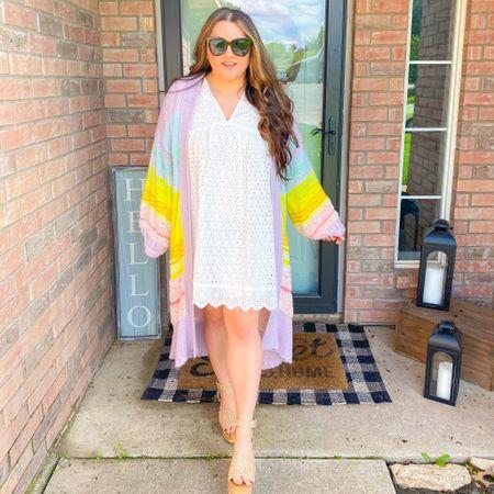 Spring outfit summer outfit spring dress eyelet dress Anthropologie rainbow cardigan target studded sandals Steve Madden sandal dupe  #LTKunder50 #LTKSeasonal #LTKshoecrush