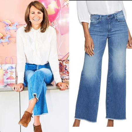 Carole Middleton inspired raw hem wide leg crop jeans #capri #distressed   #LTKeurope #LTKstyletip