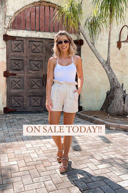 Causal outfit idea. White bra cami size xs Linen shorts size xs  #laurabeverlin  #LTKunder50 #LTKunder100 #LTKsalealert