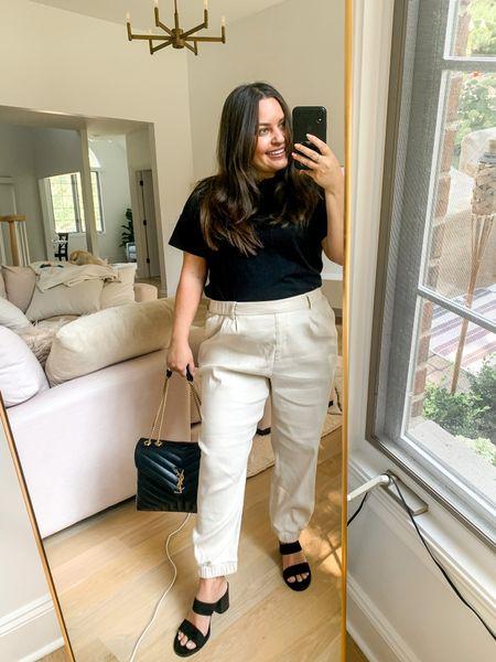 Linen trousers in medium petite. work outfit black block heels Amazon black tee ysl lou Lou black medium   #LTKitbag #LTKworkwear #LTKunder50