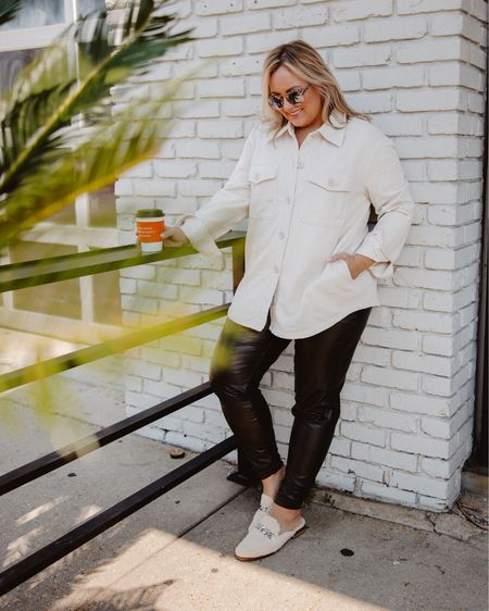 Shacket  Leather jogger  Spanx  Good American  Evereve  Dolce vita  Fall outfit  Weekend outfit    #LTKSeasonal #LTKunder100 #LTKstyletip