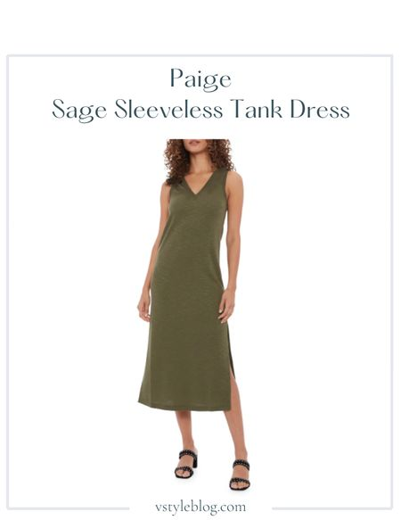Summer outfits, Midi dress  Paige Sage Sleeveless Tank Dress ($149)  Style tip: Pair with sandals or sneakers for a casual look and pair with booties and a leather jacket for an edgy look  #LTKfit #LTKstyletip #LTKSeasonal