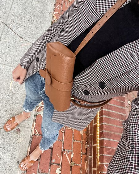 Blazer outfit (wearing size 4), with mock neck sweater (TTS), and straight leg jeans (TTS). Belt bag is worth it—beautifully made and comes in 10+ colors!