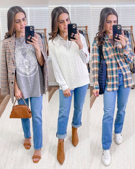 Fashion capsule week 3: ways to style 90s jeans: plaid blazer, graphic tee, sweater vest, white button down, cognac booties, plaid flannel, Veja sneakers, puff tote   #LTKstyletip #LTKunder100
