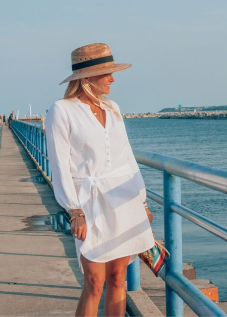 This is my favorite white summer dress! Perfect material, perfect easy casual dress for the beach or weekend errands. Fits TTS.  Wearing a S.  Added Julie Vos gold earrings and a bracelet along with vintage coin layered necklaces.   #LTKtravel #LTKstyletip