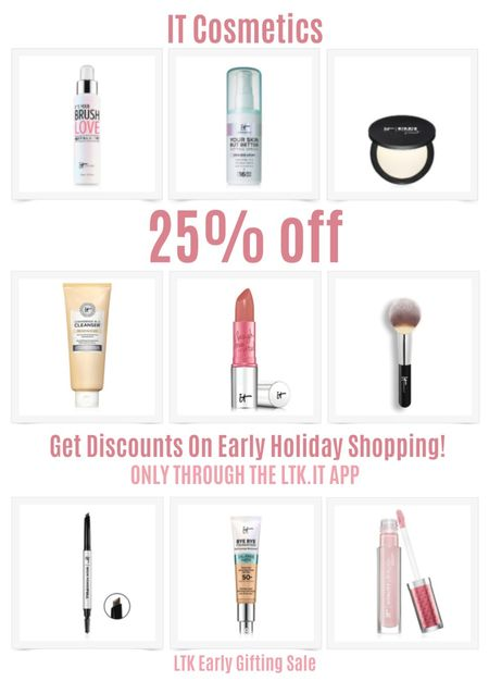 Get discounts on early holiday shopping with the LTK Early Gifting Sale! Get 25% off sitewide at IT Cosmetics. Brush cleaner, setting spray, bye bye pores powder, confidence in a cleanser, lipstick, powder brush, brow pencil, CC cream SPF, juicy lip gloss.   #LTKDay #LTKSale #LTKbeauty