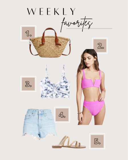Some of the best sellers this week! My favorite straw tote is 30% off. I love this pink L.Space bikini I wore on my recent vacation. The floral print cami top is so cute with jean shorts and braided sandals.  #LTKsalealert #LTKunder50 #LTKunder100
