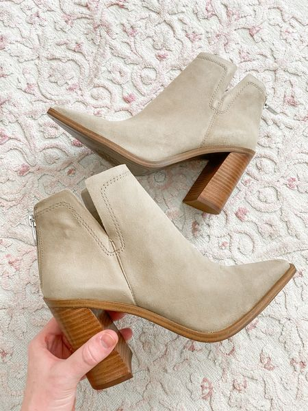 Size up a half in these neutral booties from the Nordstrom Anniversary sale