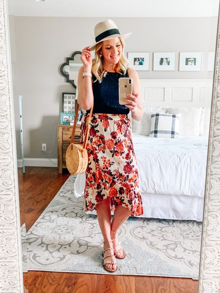 Floral midi skirt paired with a black tank top, studded sandal, straw Panama hat, and round straw crossbody bag   #LTKSeasonal #LTKstyletip #LTKunder100