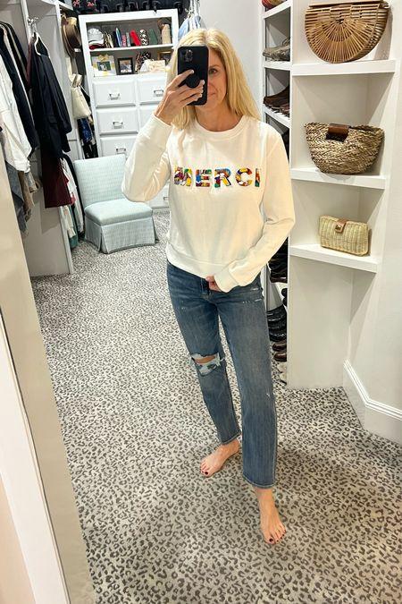 Size M top and jeans fit TTS    #LTKstyletip #LTKunder100 #LTKSeasonal