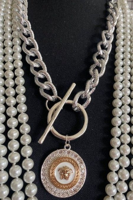Okay how stunning is this repurposed designer necklace?!? Love it!! And it's under $70 and also comes in gold too!   #LTKstyletip #LTKunder50 #LTKunder100