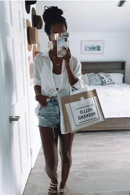 Summer, Jean shorts, tanks,  white, tote, sandals   #LTKstyletip #LTKunder50 #LTKSeasonal