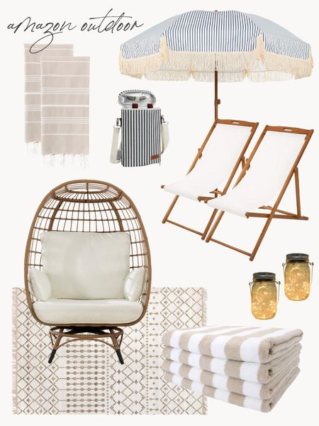 Amazon patio, beach chairs, pool towels, amazon patio finds, egg chair, fringe umbrella, beach umbrella @liketoknow.it http://liketk.it/3gpH2 #liketkit