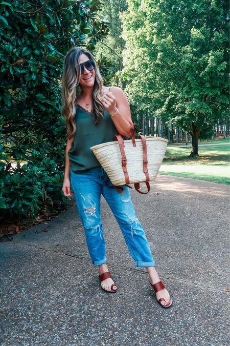 Summer outfits that transition well to fall. Just add a cozy cami or blazer. Size down on girlfriend jeans ($39.99 🙌🏻), they stretch 💕  #LTKstyletip #LTKunder50 #LTKSeasonal