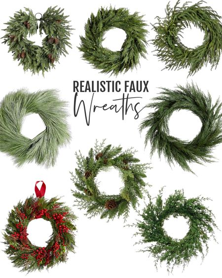 Faux Holiday wreaths with a wonderful real look. Christmas wreaths that are affordable too.  Faux greenery wreaths   #LTKHoliday #LTKhome #LTKSeasonal